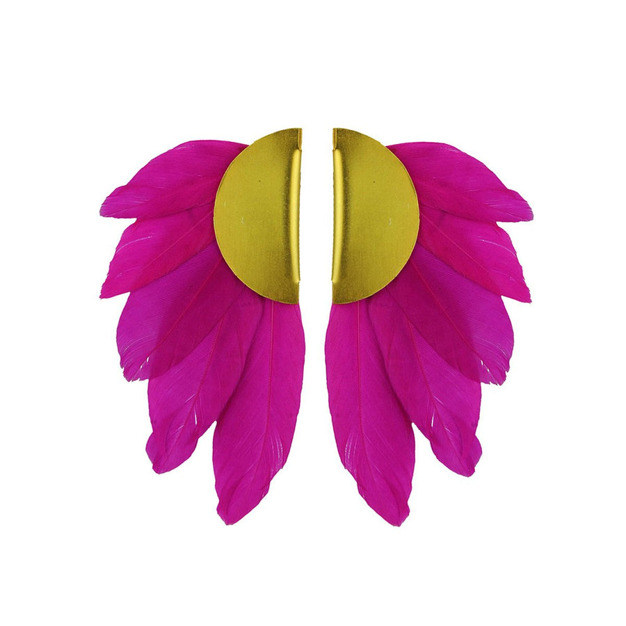 fuchsia feather clip earrings katerina psoma
