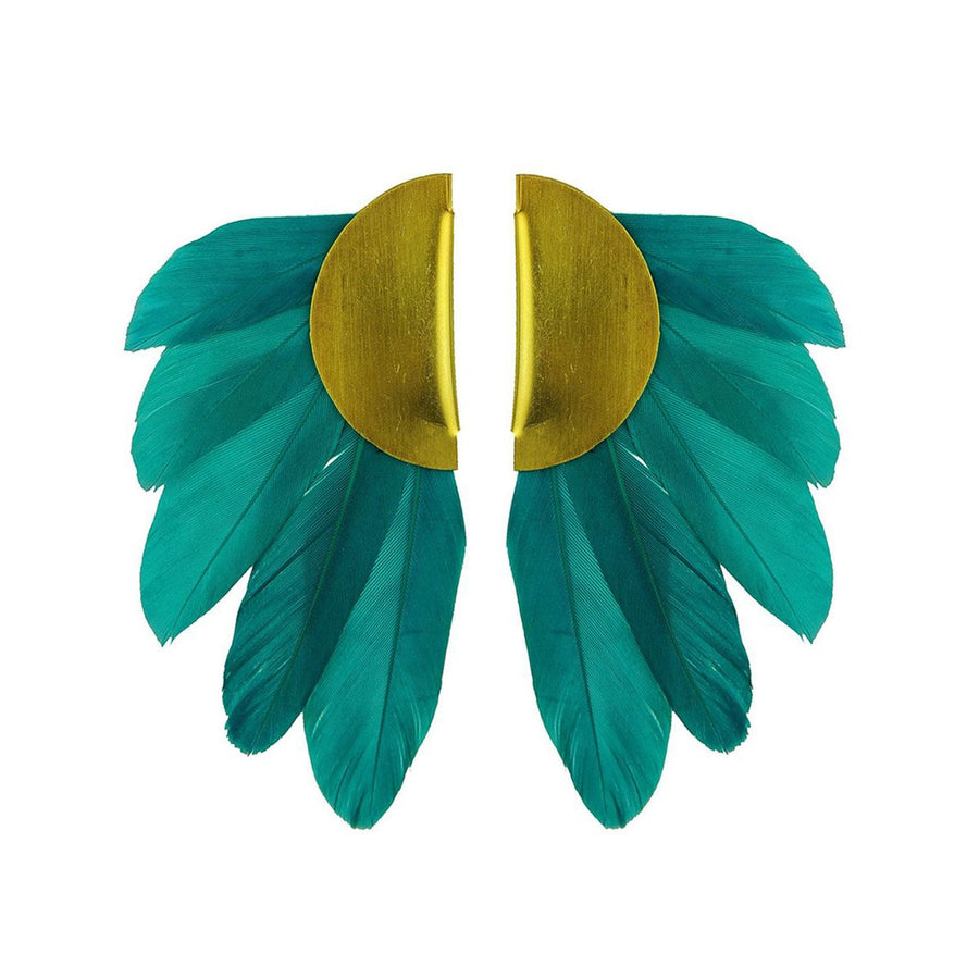 Green Feather and Gold Plated Metal Clip Earrings katerina psoma