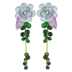 statement clip dangle earrings with faceted purple flowers and green agate katerina psoma
