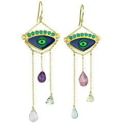 Blue Enamel Hook Evil Eye Earrings with Chain and Semiprecious Stones