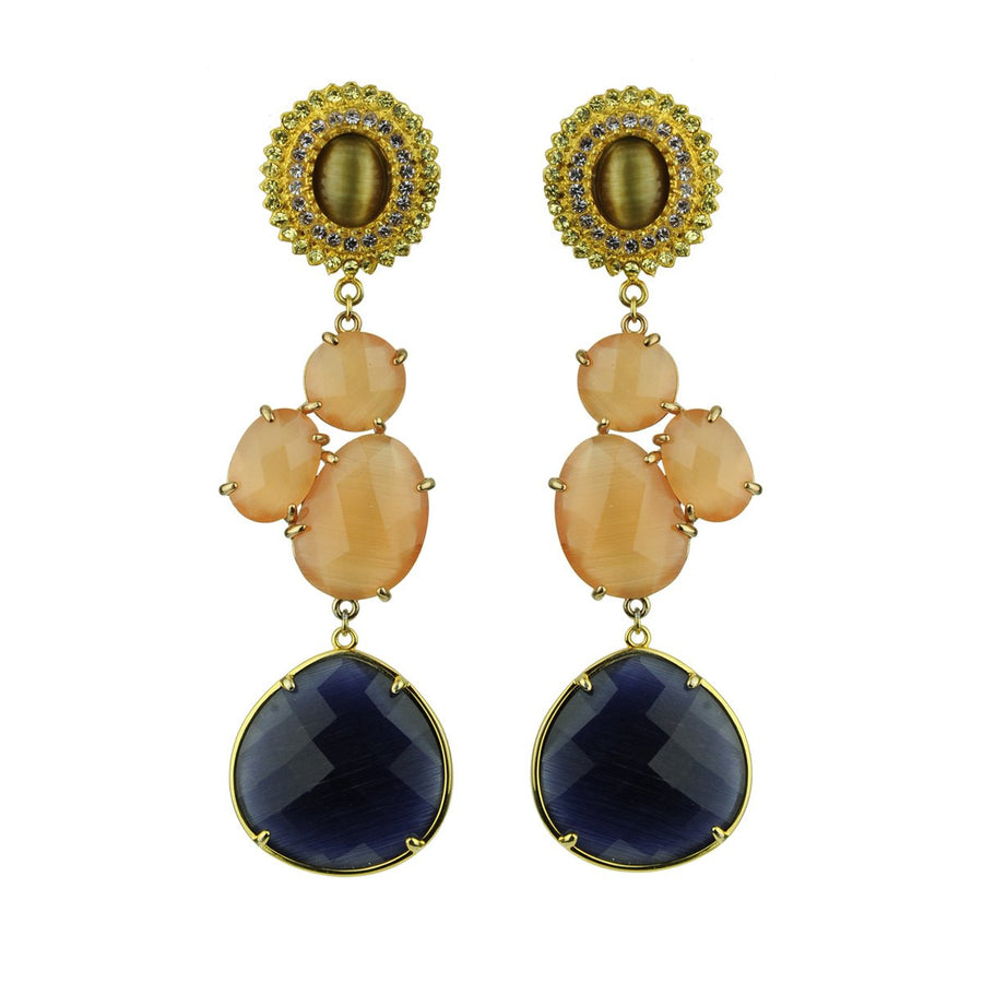 Dangle Earrings with Brown Cabochons katerina psoma