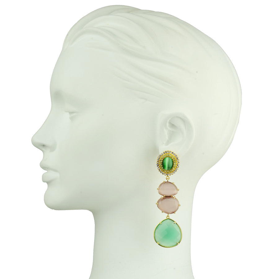 Dangle Earrings with Green Cabochons detail katerina psoma
