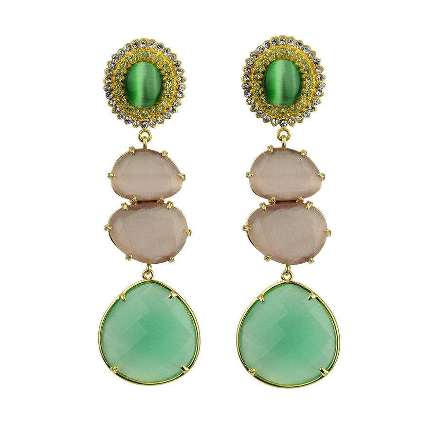 Dangle Earrings with Green Cabochons katerina psoma