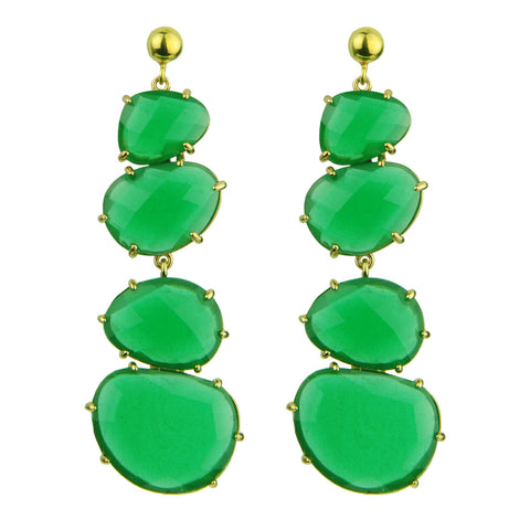 Green Cat's Eye Dangle Earrings KATERINA PSOMA