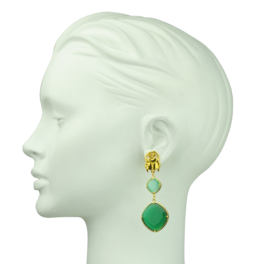 Katerina Psoma Aqua and Green Dangle Earrings demi-fine Jewelry