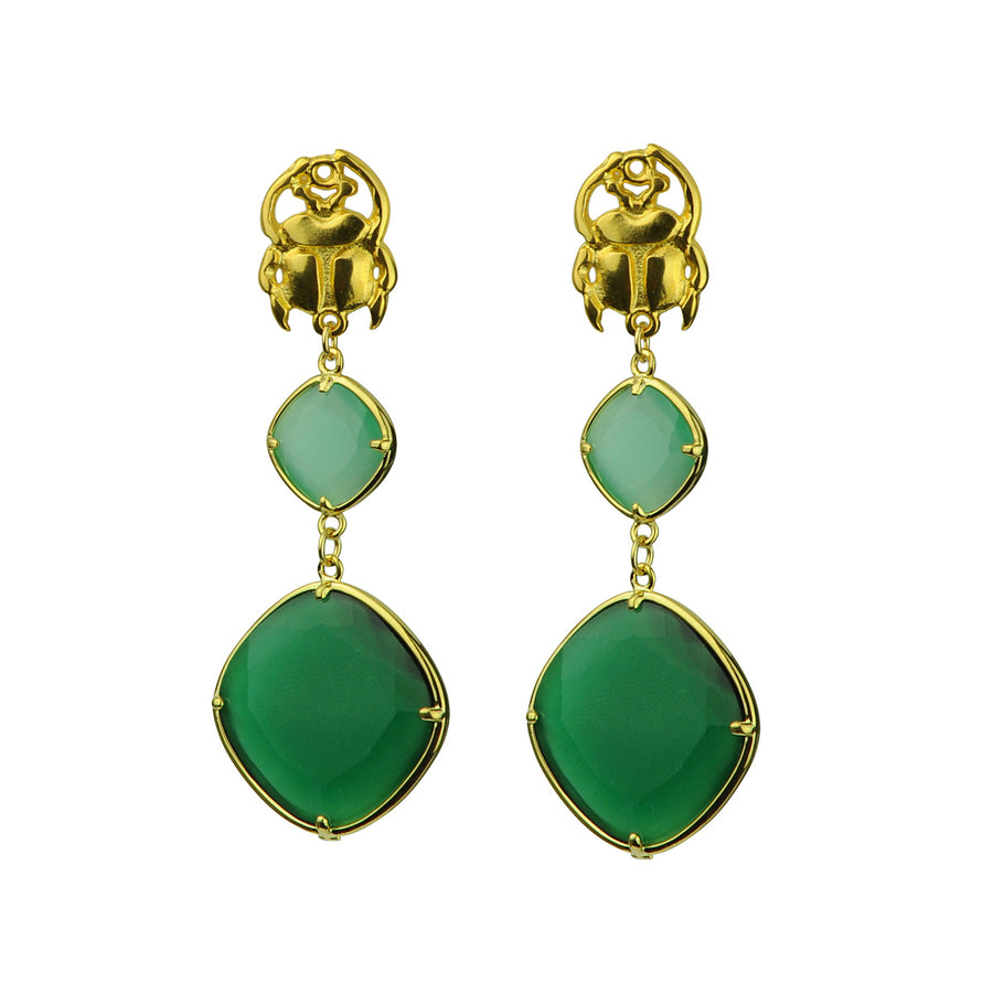 Katerina Psoma Aqua and Green Dangle Earrings