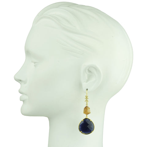 Eleanor Dangle Hook Earrings with Faceted Dark Blue Drops
