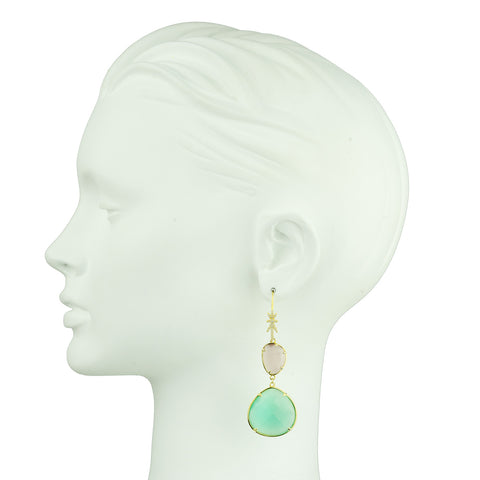 Dangle Hook Earrings with Faceted Aqua Marine and pink Drops