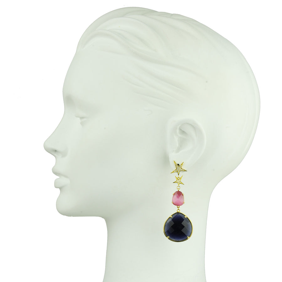 Pink Cat's Eye Dangle Earrings with Blue Drops and studs katerina psoma