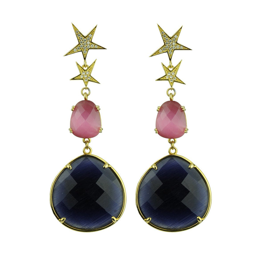 Pink Cat's Eye Dangle Earrings with Blue Drops katerina psoma