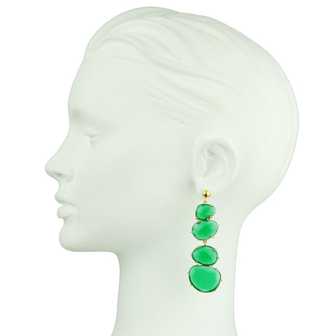 Green faceted Cat's Eye Dangle Earrings katerina psoma