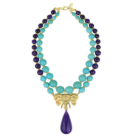 Ida Howlite and Purple Agate Short Necklace with Gold Plated Elephant