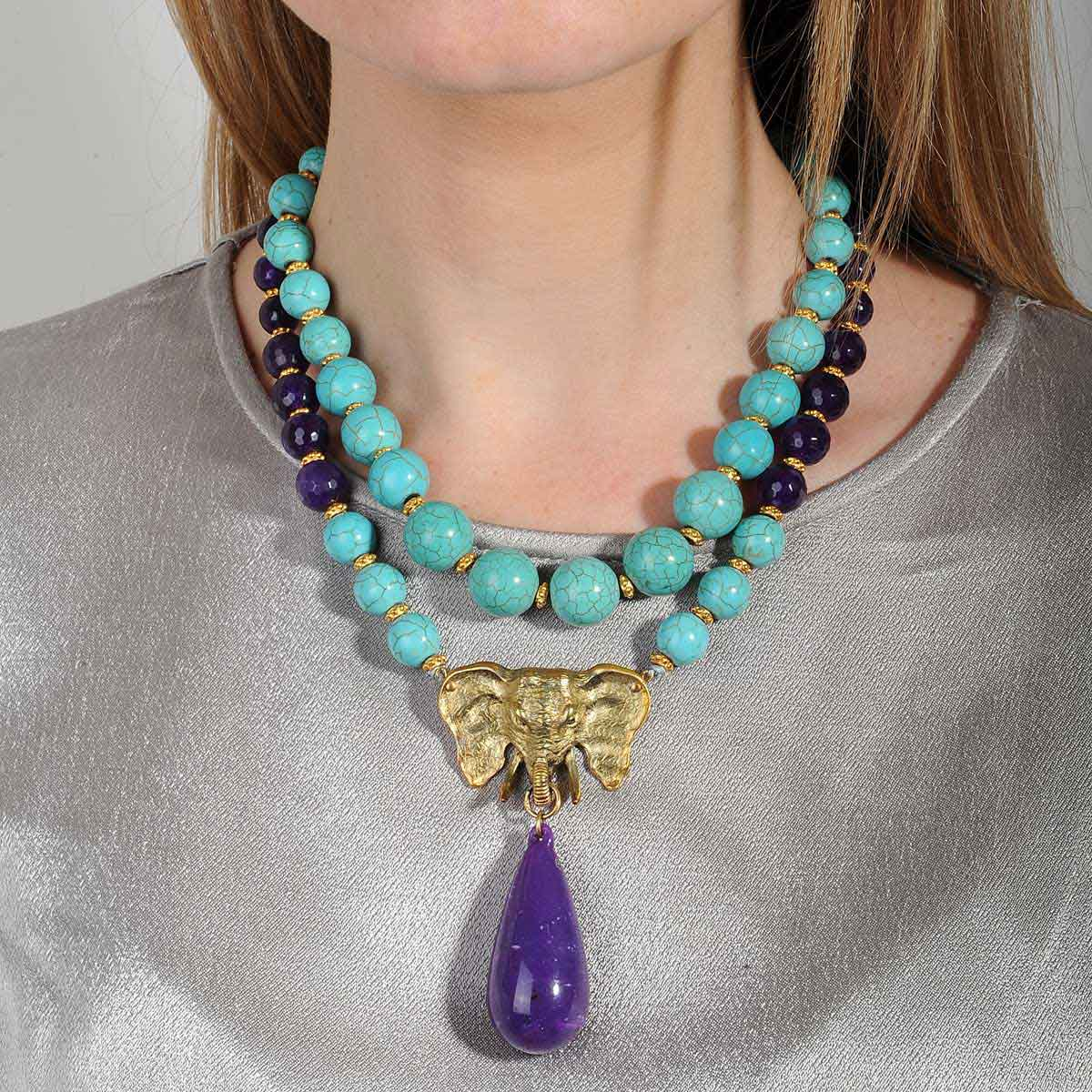 STATEMENT NECKLACE WITH TURQUOISE AND AMETHYST KATERINA PSOMA
