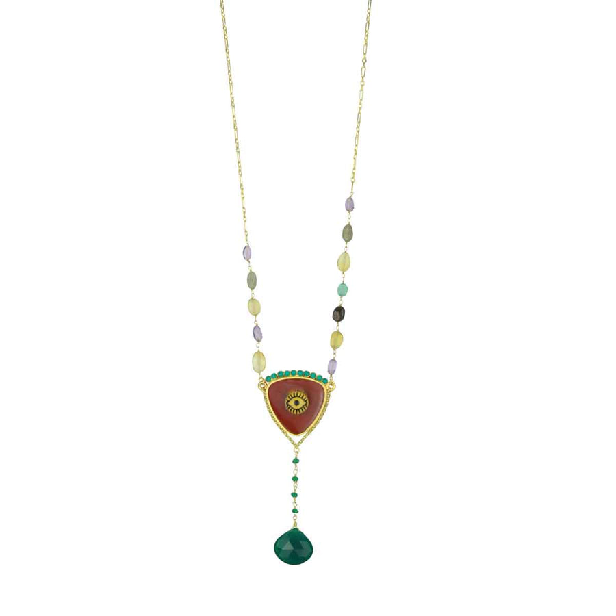 Rosary with Brown Evil Eye, Semiprecious Stones and Green Agate Drop