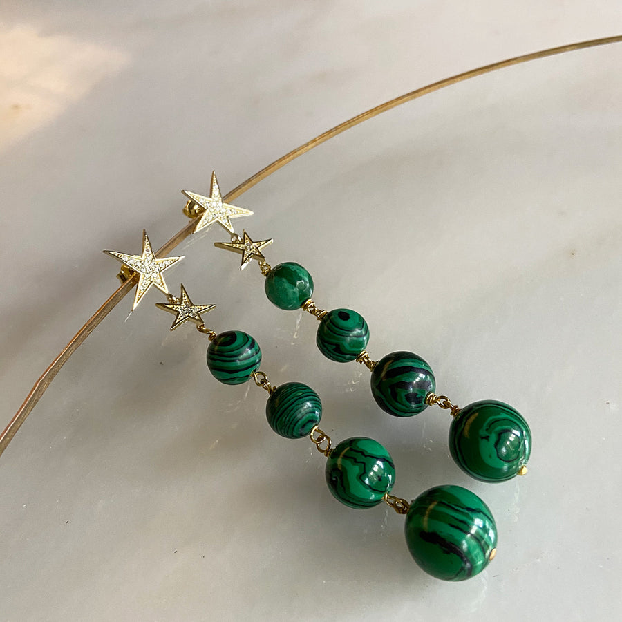 Katerina Psoma Malachite Bead Dangle Earrings demifine jewelry