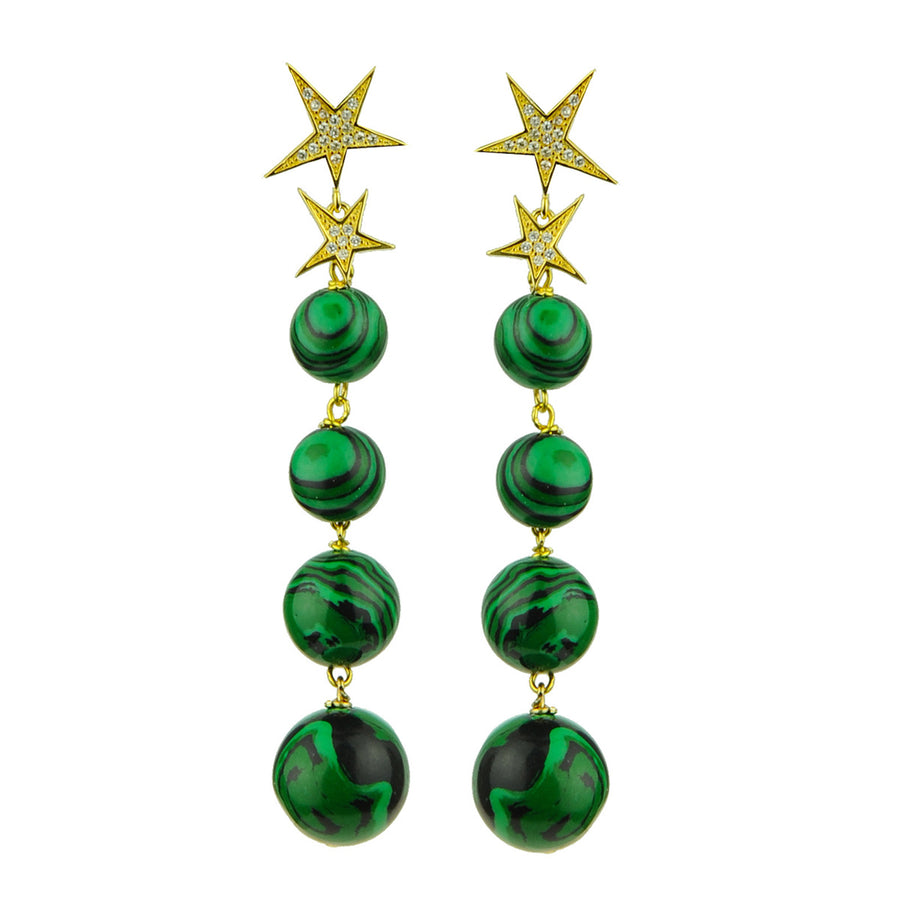 Katerina Psoma Malachite Bead Dangle Earrings