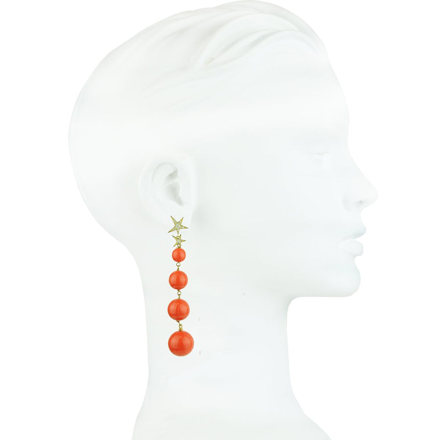 Coral Bead Dangle Earrings 925 gold plated silver katerina psoma