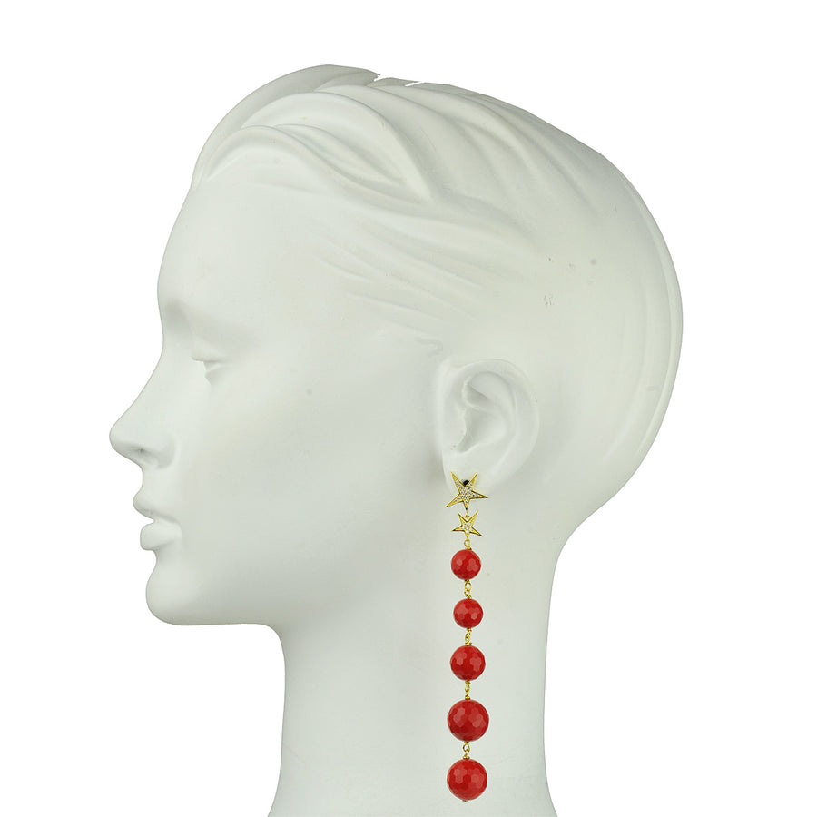 Katerina psoma Red Bead Dangle Earrings 925 silver perfect gift