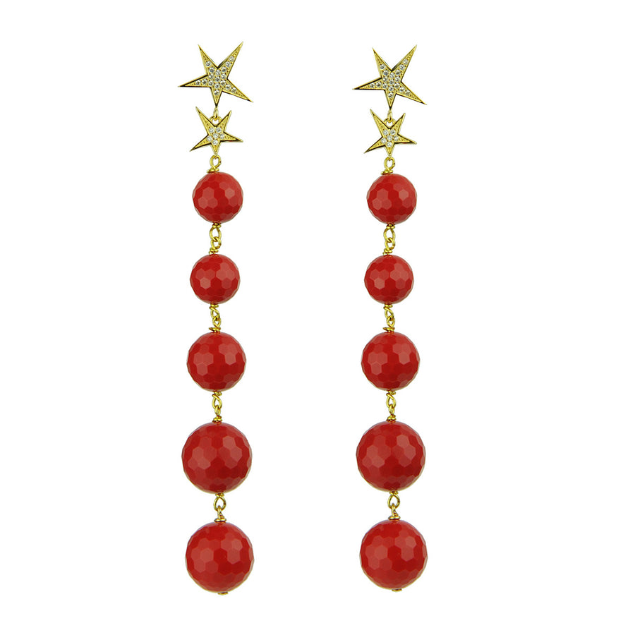 Katerina psoma Red Bead Dangle Earrings 925 silver gold plated