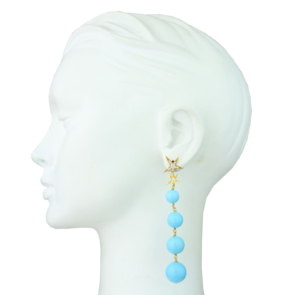 Eva Turquoise Bead Dangle Earrings