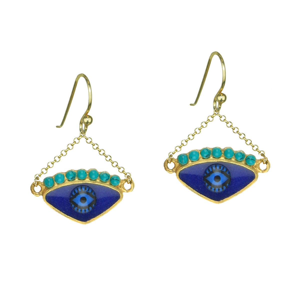 Blue Enamel Evil Eye Gold Plated 925 Sterling Silver Hook Earrings