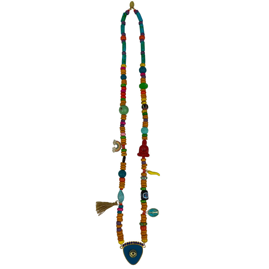 KATERINA PSOMA long evil eye necklace with semiprecious stones and charms blue