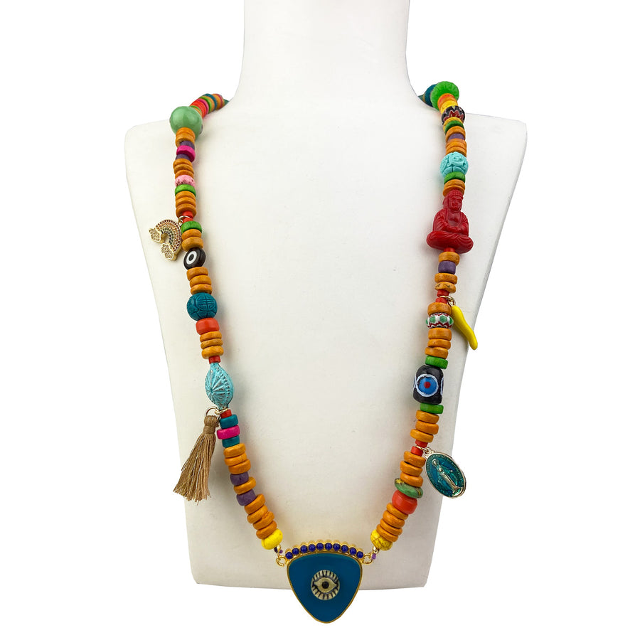 KATERINA PSOMA long evil eye necklace with stones and charms blue bohemian