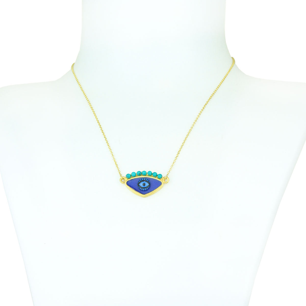 Gold Plated 925 Silver Blue Evil Eye Chain Short Necklace