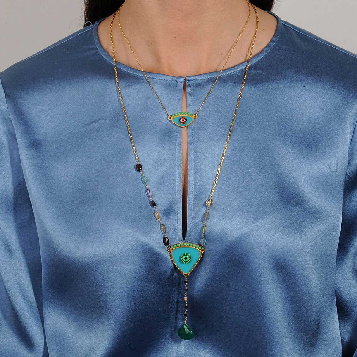 turquoise long evil eye necklace with semiprecious stones katerina psoma