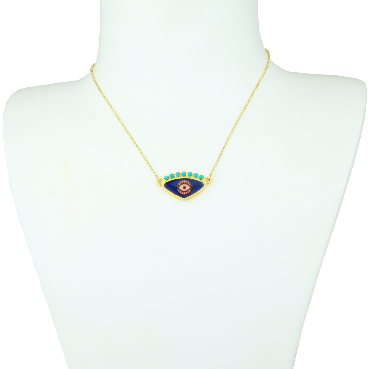 Gold Plated 925 Silver Blue Evil Eye  Short Necklace