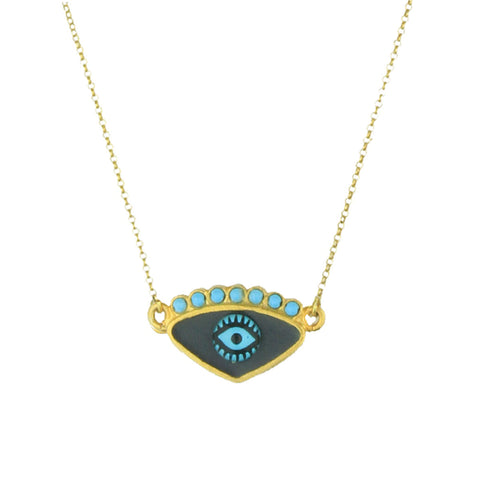 Gold Plated 925 Silver Grey Evil Eye Chain Short Necklace