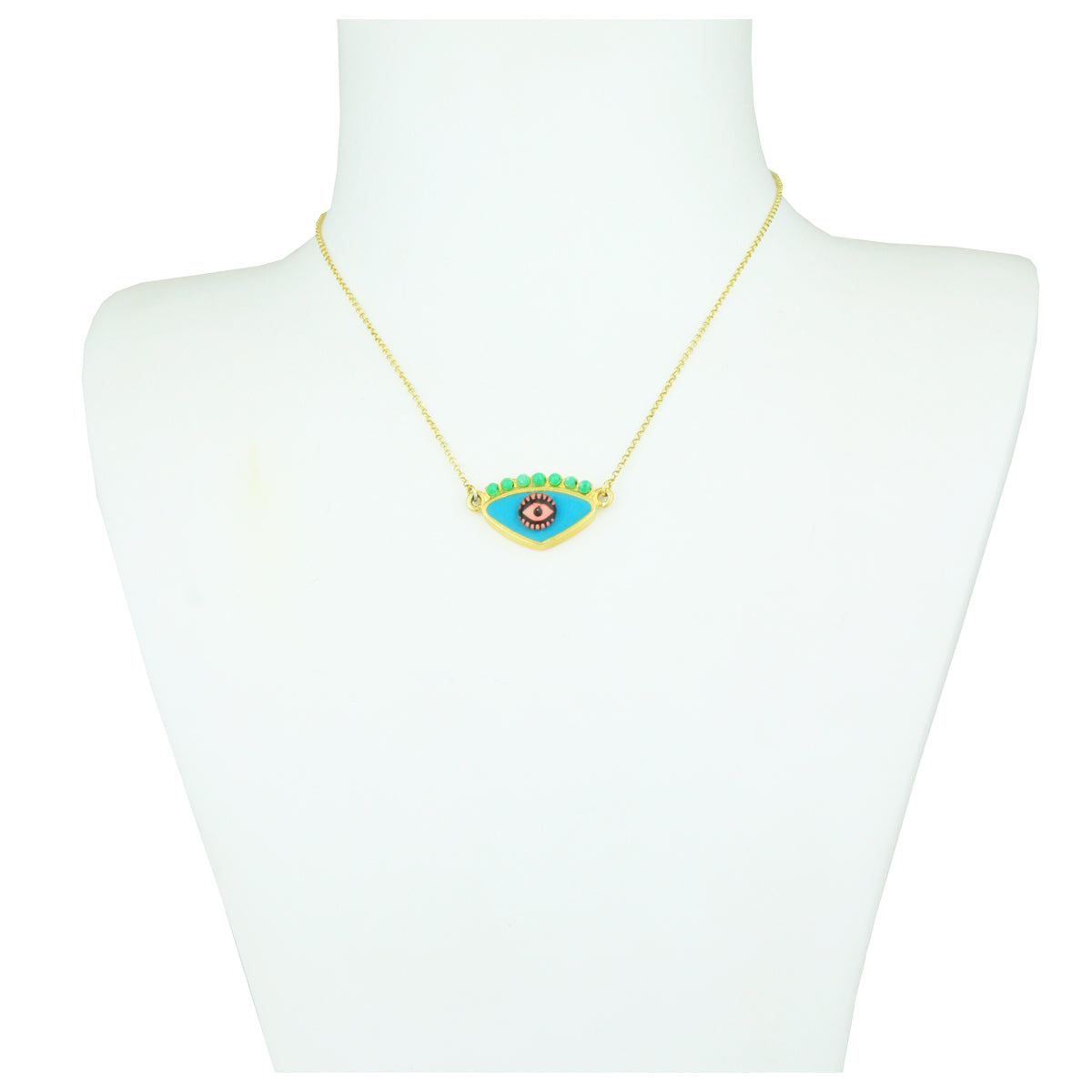 Gold Plated 925 Silver Turquoise Evil Eye Short Necklace