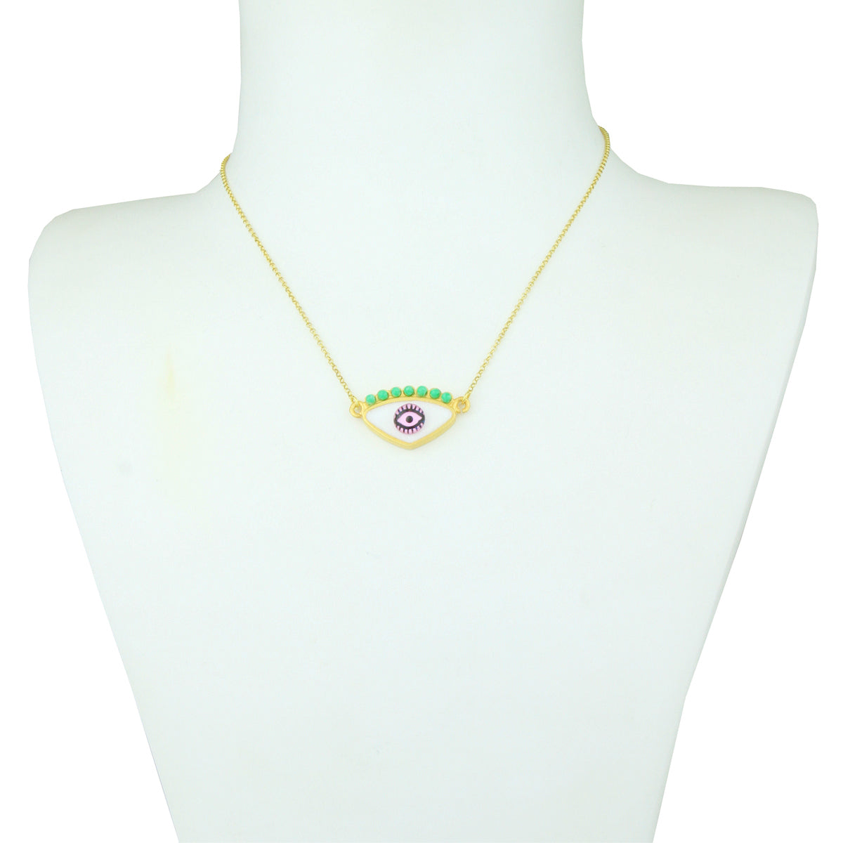 Gold Plated 925 Silver White Evil Eye Short Necklace