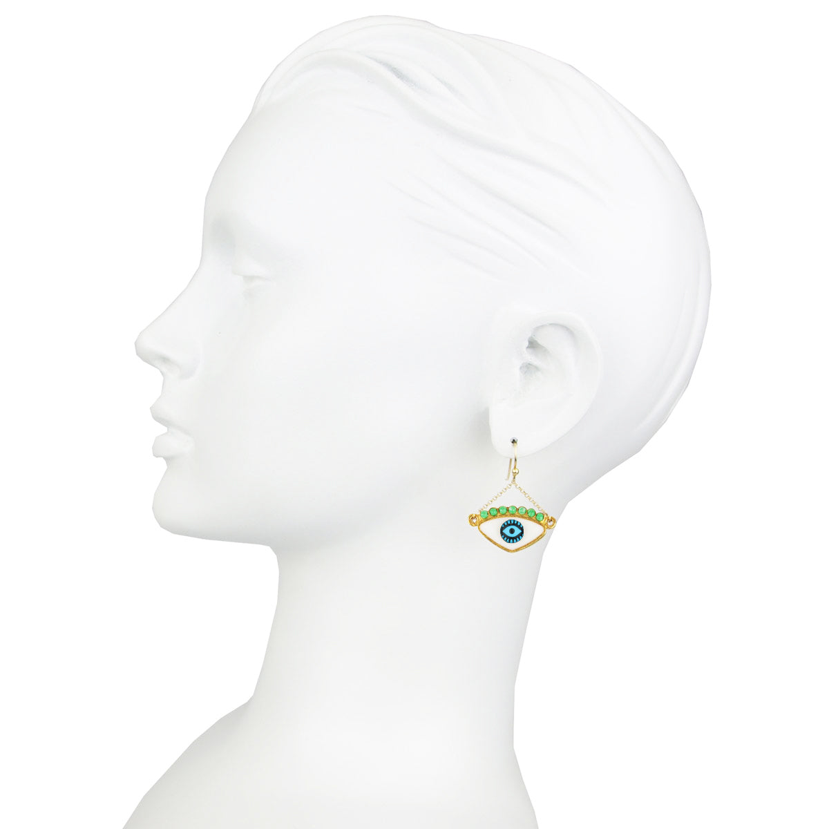 White Enamel Evil Eye Gold Plated 925 Sterling Silver Hook Earrings