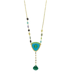 GOLD PLATED 925 SILVER EVIL EYE LONG NECKLACE