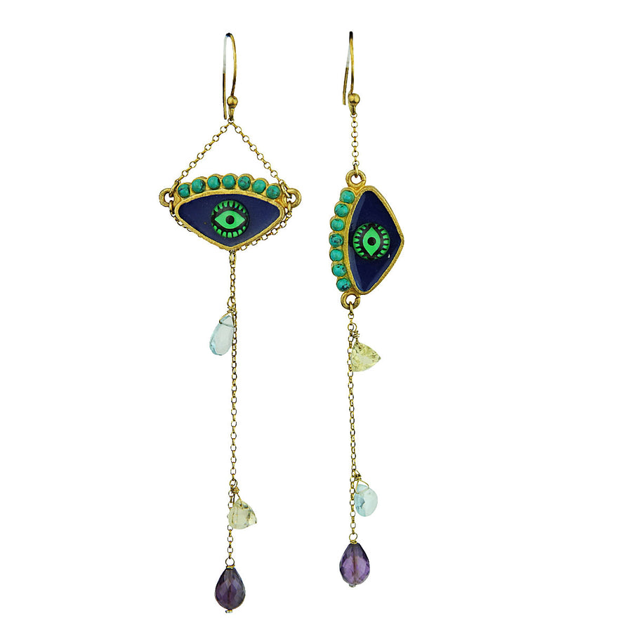 Enamel Hook Evil Eye Earrings with Semiprecious Stones