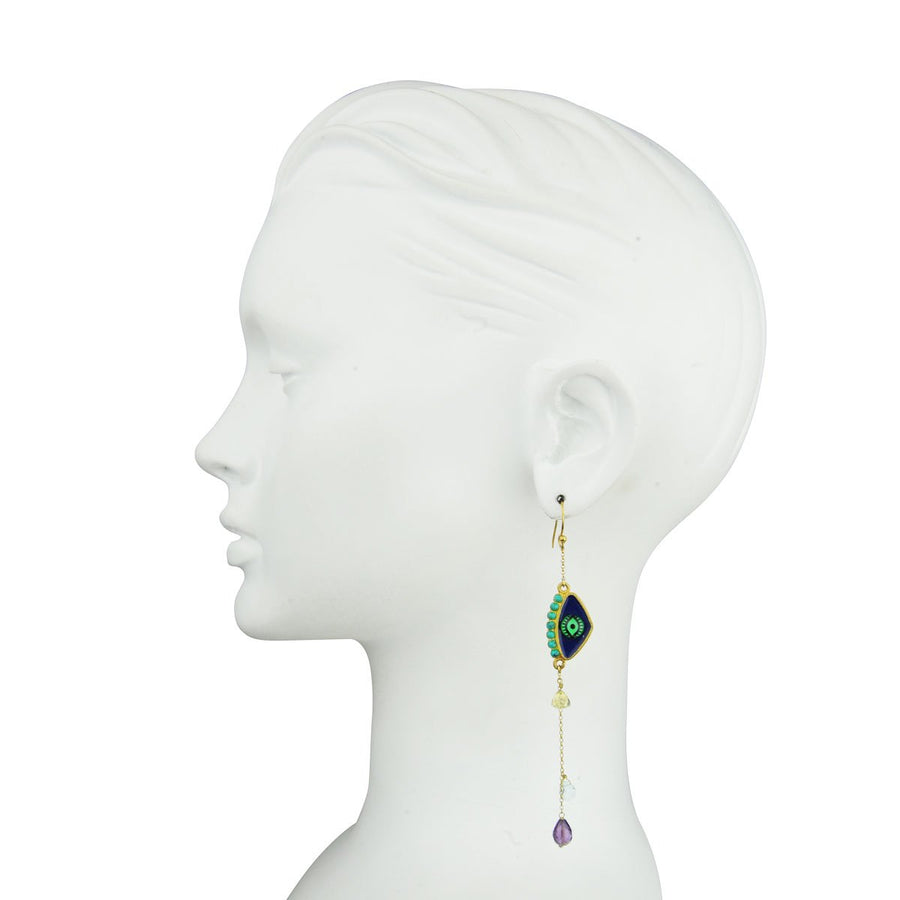 Ehook katerina psomaEvil Eye Earrings with Semiprecious Stones 925 gold plated silver