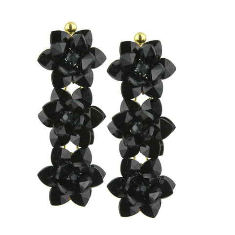 Sylvia Black Flower Dangle Earrings