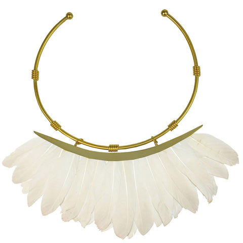 white feathers collar necklace katerina psoma