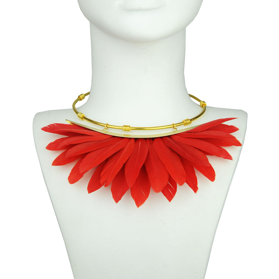 red feather collar bust