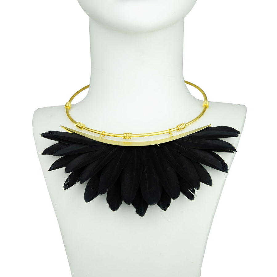 black feather necklace bust