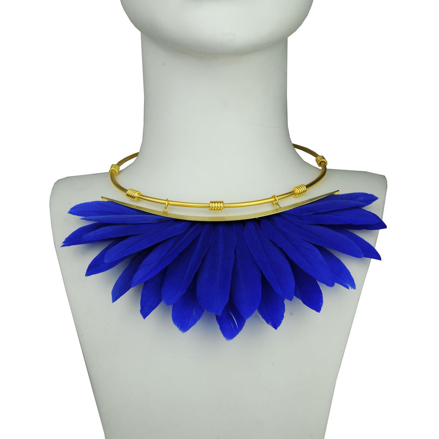 blue feather collar bust