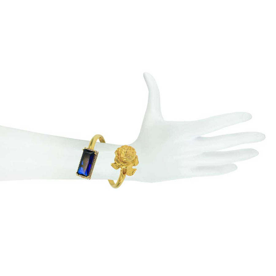 Gold Plated Crystal and Vintage Metal Cuff Bracelet