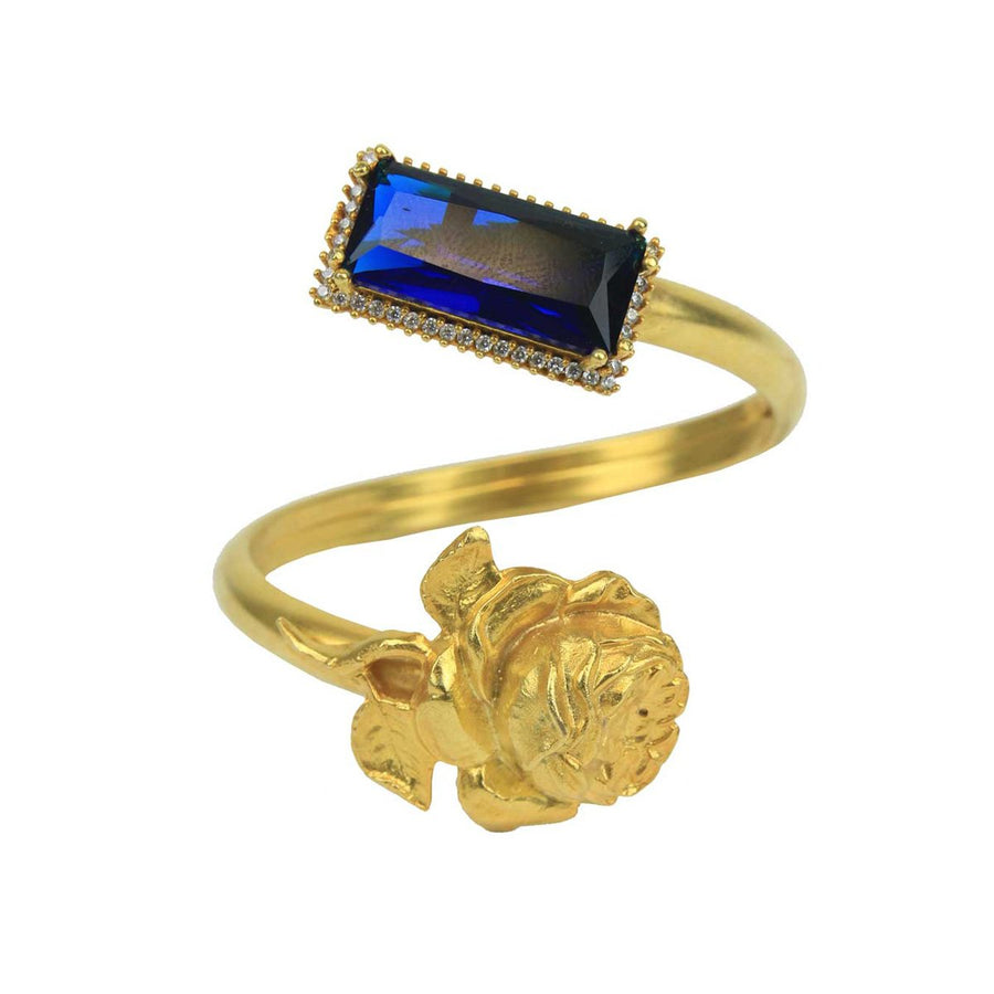 Gold Plated Crystal and Vintage Metal Cuff Bracelet katerina psoma