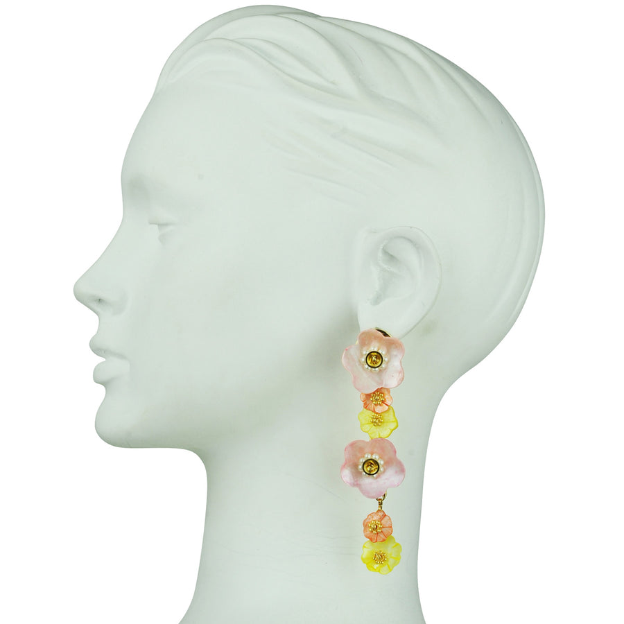katerina Psoma Yellow flower earrings dangles bust