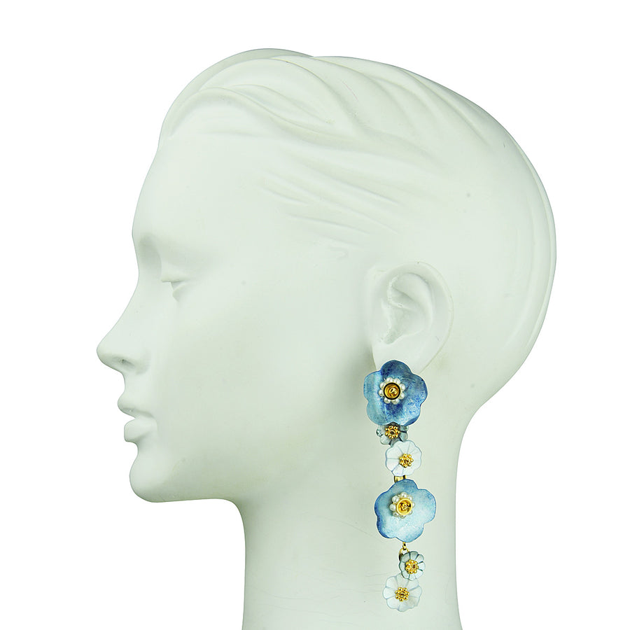 Blue mother of pearl flower dangle statement earrings Katerina Psoma