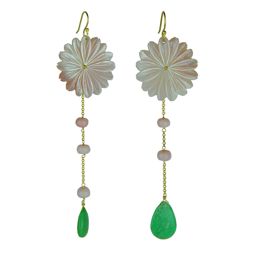 Mother of Pearl Dangle Earrings with Chrysoprase and Pink Opal