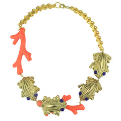 Iris Coral Resin Short Necklace with Gold Plated Animals