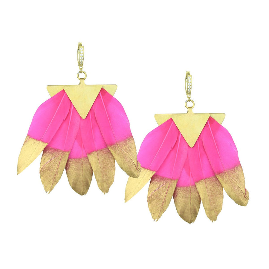 fuchsia and gold feathers dangle earrings katerina psoma