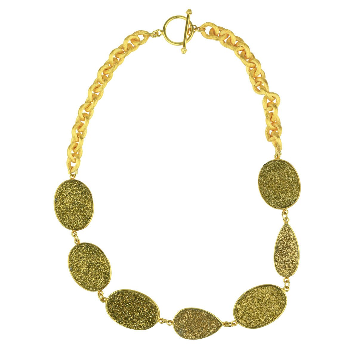 Hera Gold Druzy Agate Short Necklace